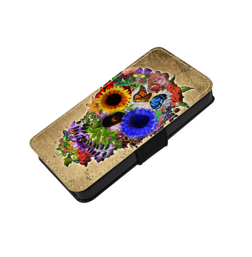 Floral sugar skull - canvas PU leatherette flip wallet iphone 4 4s case iphone 5 5s 5c case, S2 i9100 S3 i9300 S4 i9500 S5 case Note 1 2 3 case