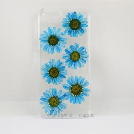 Pressed flower iphone 4 case real flower iphone 5 5s 5c case, blue daisy iphone 6 case, real flower S2 S3 S4 mini S5 LG G2 M7 z10 case
