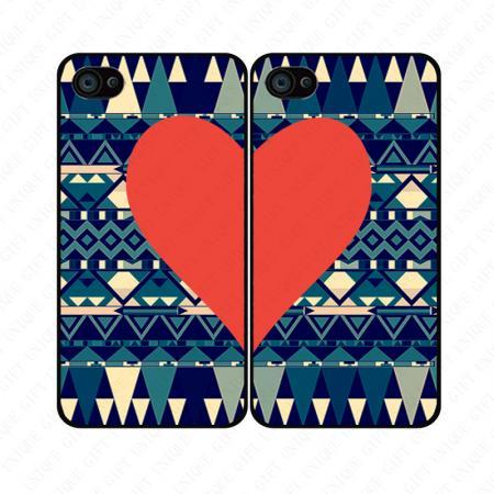 Vintage Aztec red heart couple love - iphone 4 4s case iphone 5 5s 5c case iphone 6 6 plus case ipod touch 4 5 case, Galaxy S2 3 4 mini S5 note 1 2 3 case
