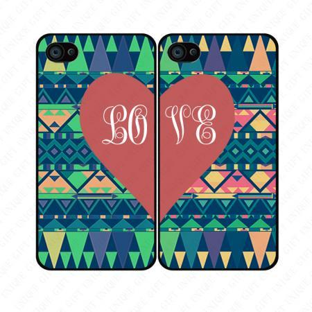 Colorful Aztec red heart couple love - iphone 4 4s case iphone 5 5s 5c case iphone 6 6 plus case ipod touch 4 5 case, Galaxy S2 3 4 mini S5 note 1 2 3 case